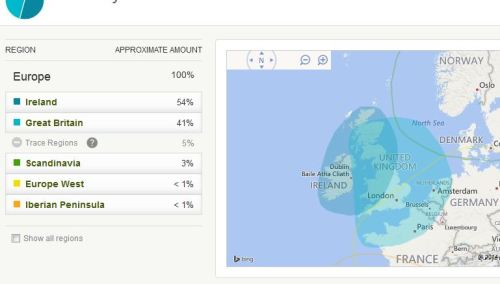 Dad's ethnicity report from Ancestry DNA show that his two main areas both include Scotland.  No big surprise there.