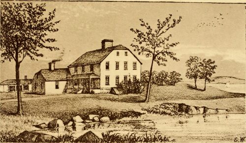 Richard Smith Block-House at Cocumsmussuc, constructed by Richard Smith Junior about 1680 from the materials of the old garrison house.  From Providence in Colonial Times, 1912, p46.
