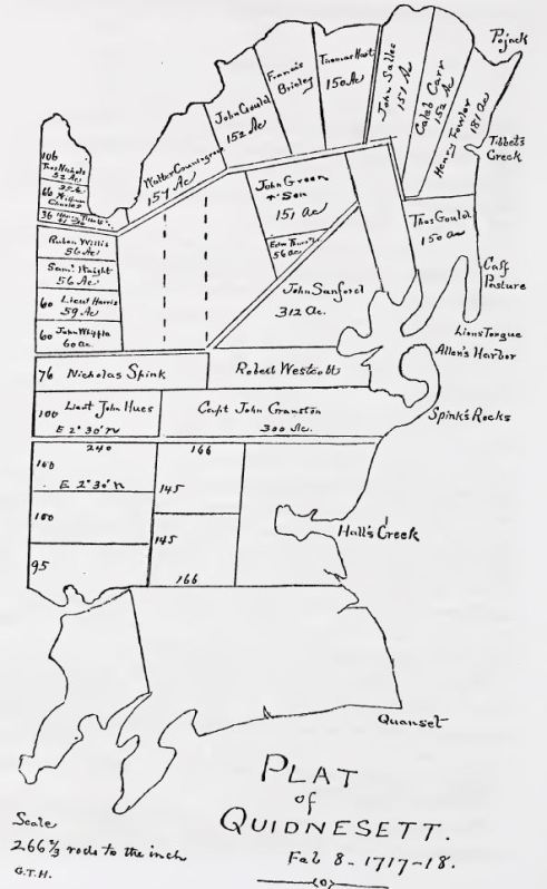 early map of Quidnesset from Narragansett Historical Register, volume 5, p 62.