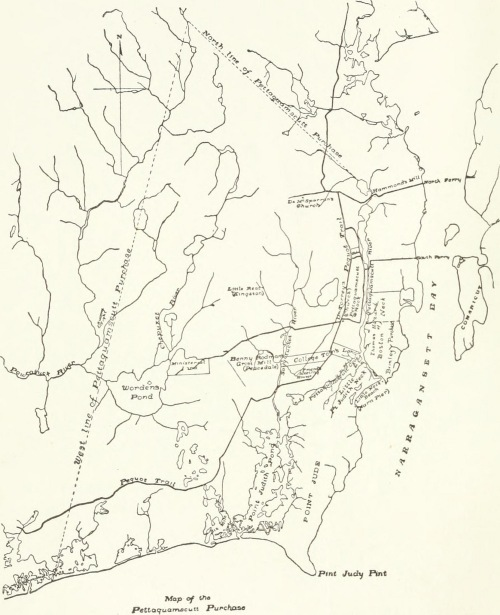 Map of Pettaquamscutt Purchase from Thomas Hazard Son of Robt calld College Tom, 1893, frontis.