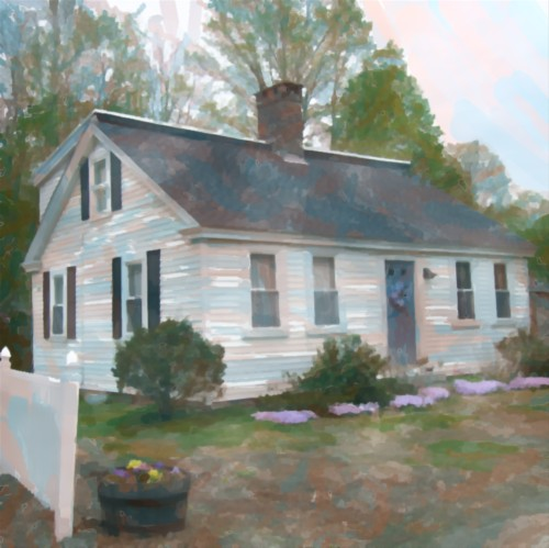 The watercolor version of the historic house in Sheldonville, Mass.