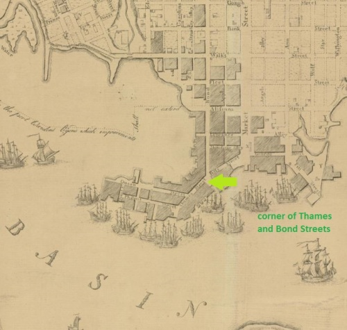 Corner of Thames and Bond Streets, Fell's Point.  This 1792 map by A.P. Folie is a from the Library of Congress, g3844b ct000792 http://hdl.loc.gov/loc.gmd/g3844b.ct000792