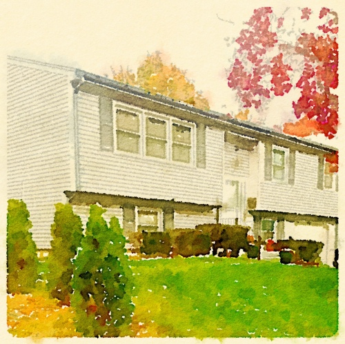 The square, resized, watercolored picture of the Waterman Ave house.