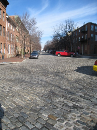 The cobblestone streets and old houses and shops lined Bond Street.