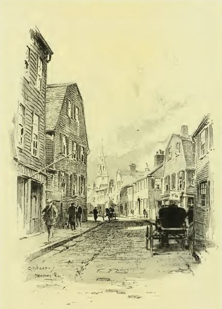 A street in Newport, from Sketches of Early American Architecture by O.R. Eggers, 1922.