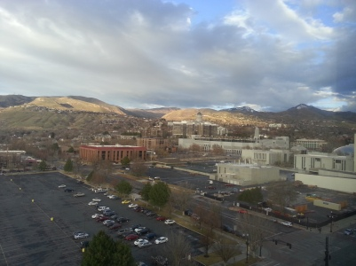 The snowless view of Salt Lake City from my hotel room (except for the tallest mountains).  It was approaching 60 degrees every day, and very pleasant while I was there.