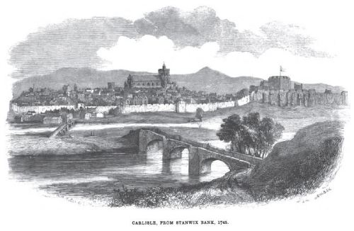 A 1745 view of Carlisle, showing its history as a fortified city near the Scottish border.  By the early 1800's it was more industrial. From Carlisle in 1745 by George Gill Mounsy, 1846, p. 40.