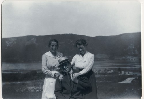 Jack MacLean, Josie MacLeod (dark skirt), and Jack's sister-in-law Sadie (Campbell) MacLean, in Englishtown, approximately 1918.