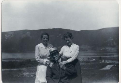 Jack MacLean, Josie MacLeod (dark skirt), and Jack's sister-in-law Sadie (Campbell) MacLean, in Englishtown, approximately 1918.