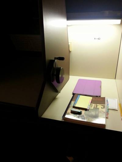 Workbook and the microfilm machine.