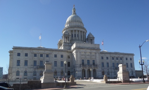 The Independent Man stands atop the dome of the Rhode Island State House on Smith Street, Providence.