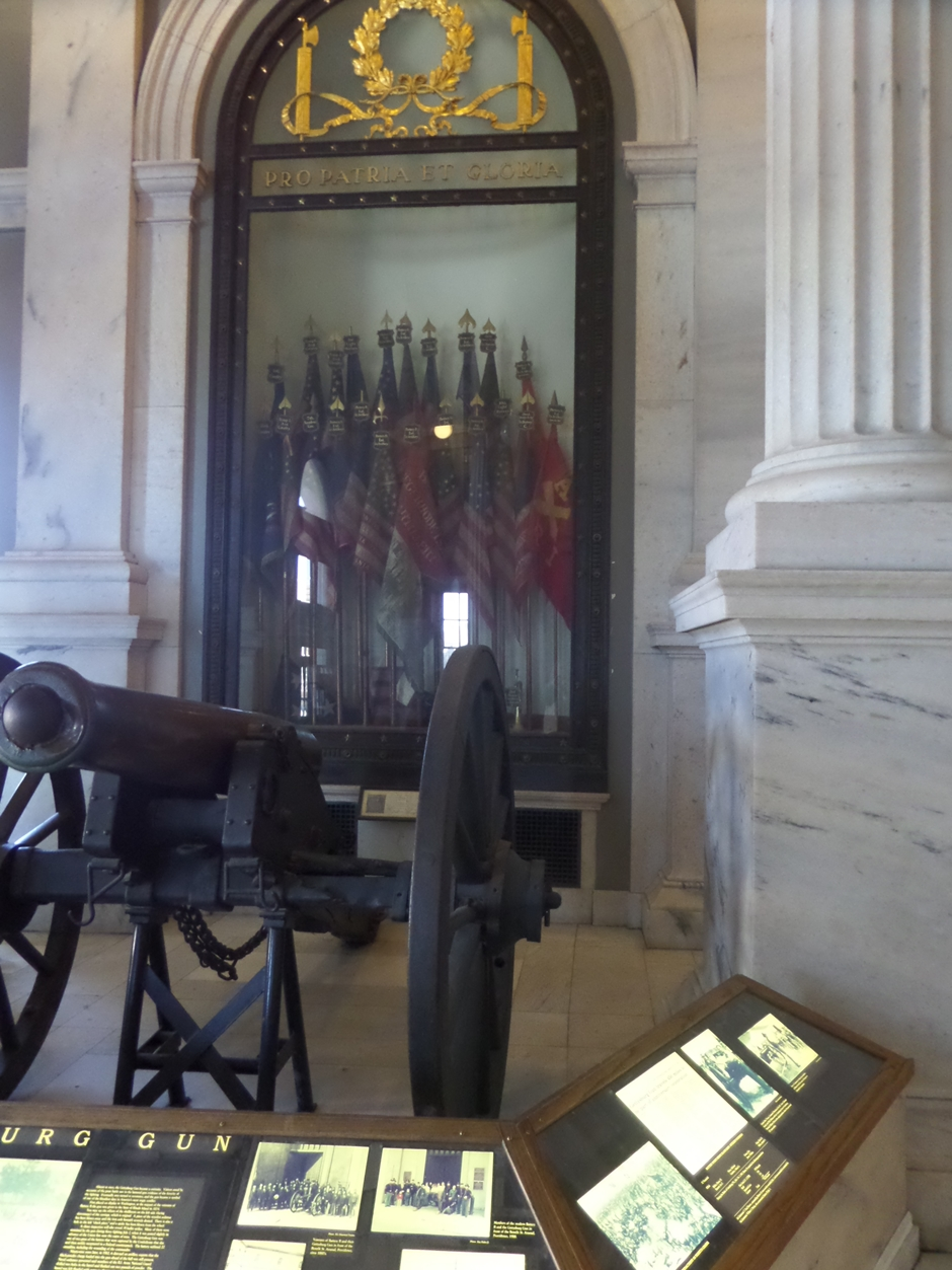 The State House was filled with memorials to soldiers from many wars. This cannon was used at Gettysburg, with a ball still lodged in it that misfired during the battle.