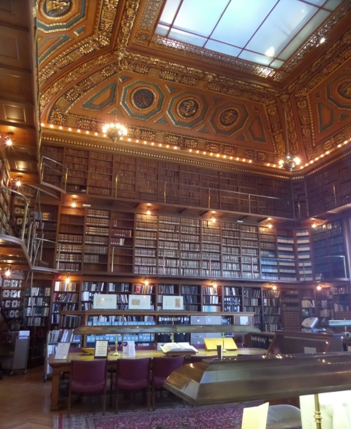 The Library itself is rather amazing. a tall room with two balconies.
