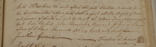 Freelove Andrews her mark, from the 1777 deed.