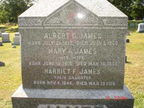 """Grave of Harriet F James and her parents, Albert C and Mary A James, at Woodland Cemetery, Coventry. Photo used with permission from FindAGrave contributor """"Harriet"""", from entry #65156414."""