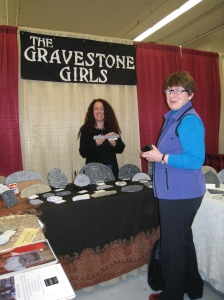 The Gravestone Girls make casts of actual gravestone art. Each piece comes with the details of the actual marker.