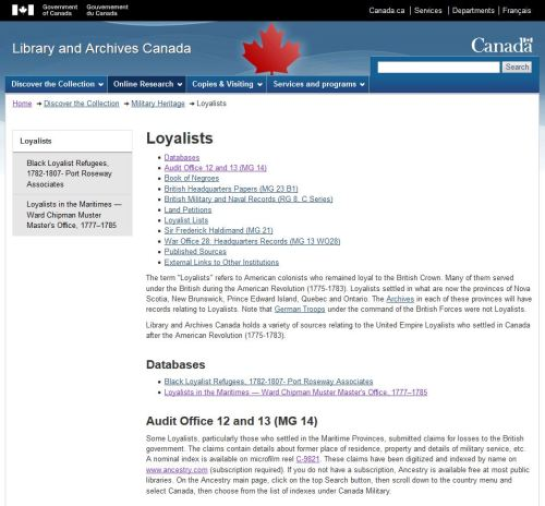 Library and Archives Canada website, Loyalists section.  The page notes that A.O. 12 and 13 records are available on Ancestry.com.