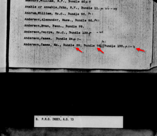 Four records were listed for James Anderson (but we had already seen Bundle 24).  Arrows are mine, from a picture I pasted into my Evernote list of Family History Library microfilms ordered.