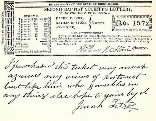 Many of the lotteries shown in Rhode Island Historical Tracts, Series 2, volume 3, were church-related.  This one for the Second Baptist Society in Coventry was evidently acquired with a scrawled note from Jonah Titus:  this ticket.