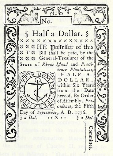 Early Rhode Island currency from Rhode Island Historical Tracts, vol. 8.