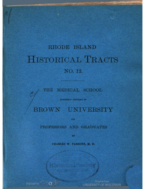 Cover of Rhode Island Historical Tracts Series 1, No. 12. Courtesy of HathiTrust.