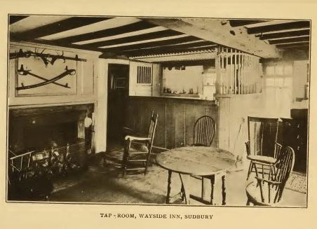 Tap Room at the Wayside Inn, perhaps c1900