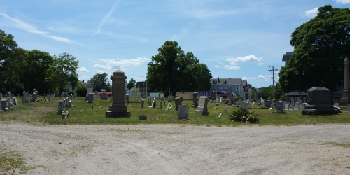 A bit broken and battered, Grace Church Cemetery stands at the intersection of Broad Street and