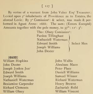 The beginning of a four page list of Levie and pole money payers in Providence, 1688, from Early Records of the Town of Providence, v. 17, p. 127