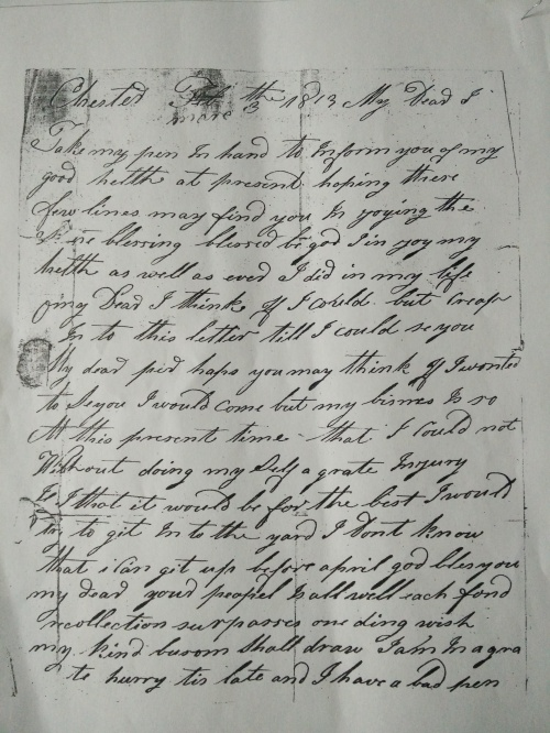 A copy of an 1813 letter from our gggg-granfather John Secomb Anderson to our gggg-grandmother Elizabeth Hardacre.  Page 1.