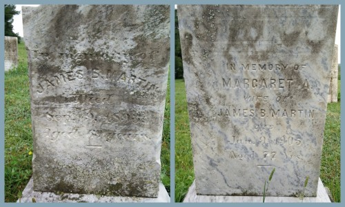 The graves of my ggg-grandparents, James B and Margarety A. (Anderson) Martin - Bessie Blanche Martin's grandparents.