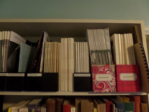 Journals in a variety of holders.