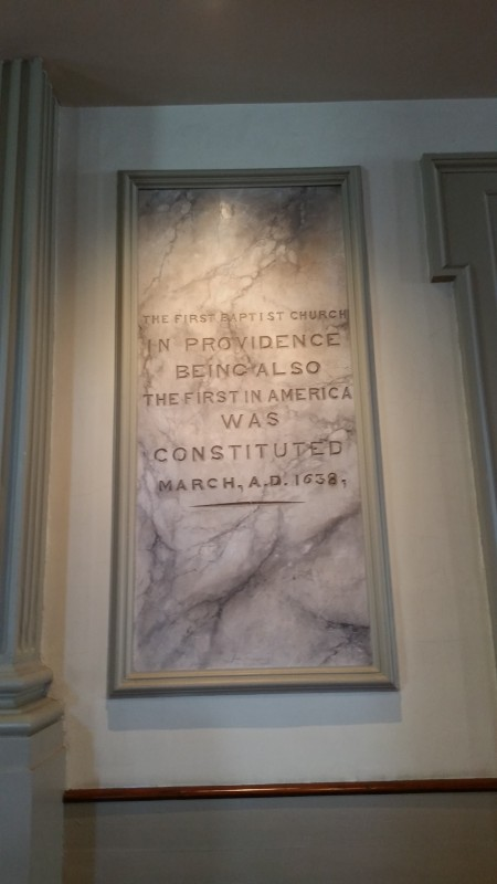 A marble plaque inside the church.