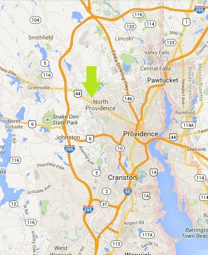 Centerdale is halfway between Providence and Smithfield, Rhode Island. map courtesy of google maps.