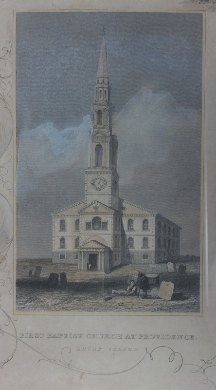 Print of the First Baptist Church at Providence by J & F Tallis. Photo of the print by Diane Boumenot.