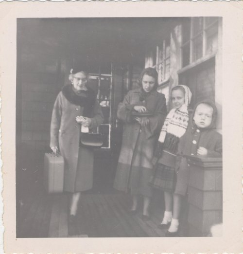 Josie MacLeod MacLean, with suitcase, with my mother and my sister Bonnie and my brother Jay, around 1959.