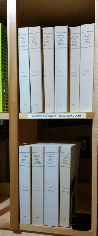 Colonial Records of Rhode Island, 10 volumes, by Bartlett.