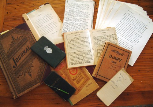 The stash of written documents that helped tell the family's story. In addition, there were letters and also pictures, many of which appeared in the family's book.