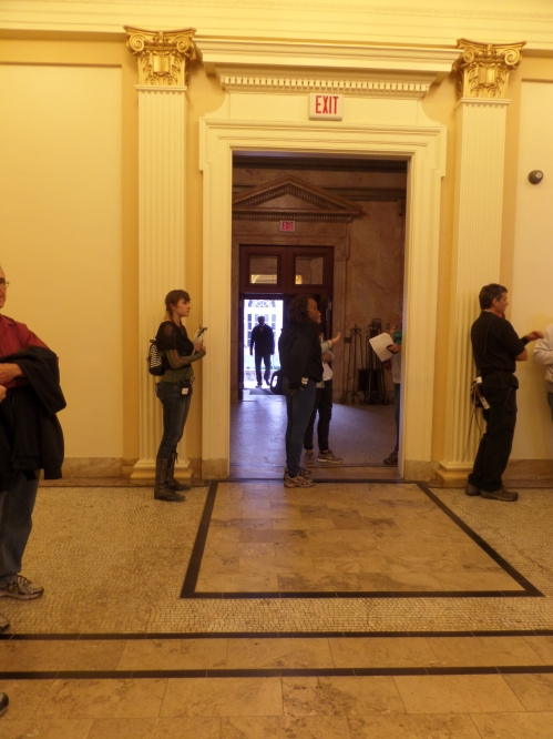 The entrance to the library. Lots of tv production folks around all day. They even gave us lunch!
