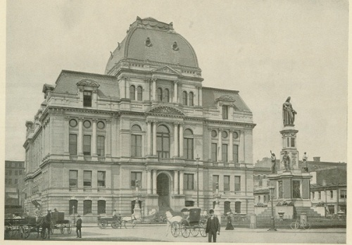 A turn of the century view of city hall; it looks much like this today.