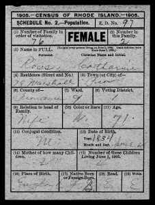 `905 census for Catherine (Young) Ross, my gg-grandmother. The only record of her birth date.
