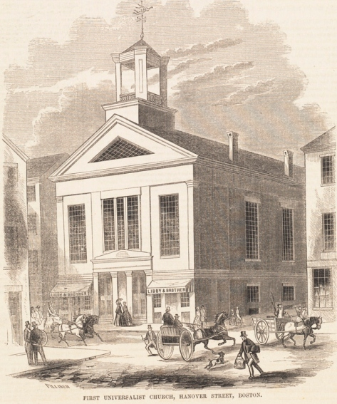 First Universalist Church, Hanover Street, Boston, from Gleason's Pictorial Drawing Room Companion, Oct. 15, 1853, volume V, no. 16, p. 252