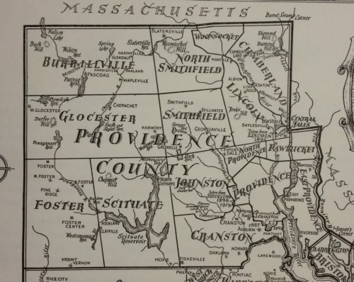 Map of Providence County, 1936. From John Hutchins Cady, Rhode Island Boundaries 1636-1936 (Providence, Rhode Island Tercentenary Commission, 1936), p25.