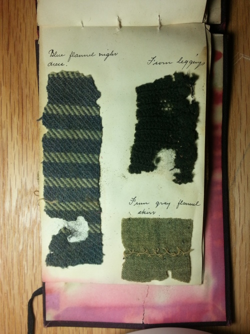 """From gray flannel skirt"" - perhaps that is Bessie's stitching."