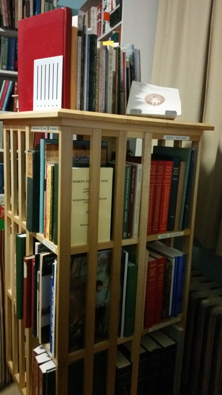 Spinning bookcase made by my husband.