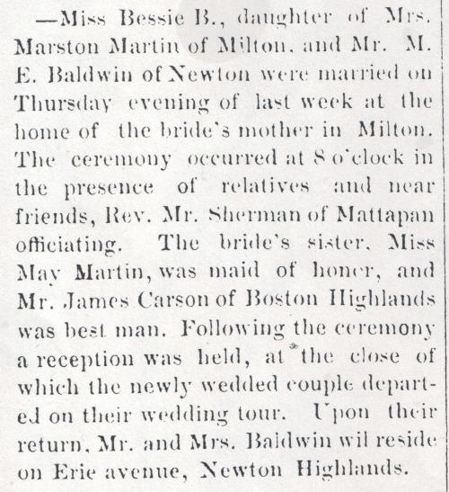 Marriage announcement of Bessie Blanche Martin, The Milton News/Dorchester Advertiser, vol. XII, No. 24, Saturday, Sept 10, 1892. From microfilm, Boston Public Library.