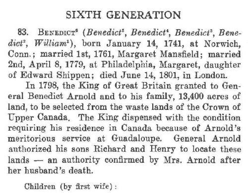The description of Benedict Arnold in The Arnold Memorial