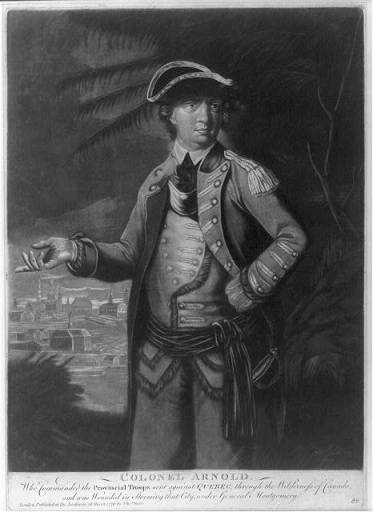 Benedict Arnold, as an American Colonel. London : Published by Thos. Hart, 1776. Courtesy of Library of Congress LC-USZ62-39570.