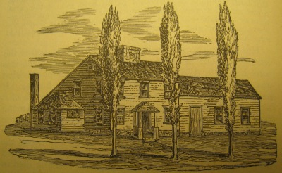 Benedict Arnold Tavern, Warwick, demolished 1840. From page 144, Fuller's History of Warwick, R.I.