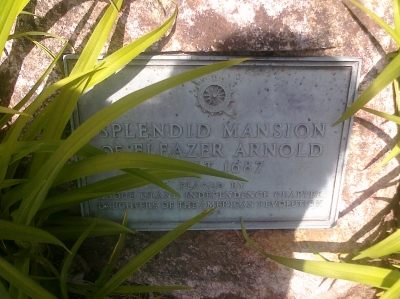 Plaque in front of the Eleazer Arnold House
