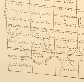 Broad Brook area in the southern corner of Royalton; 1782 map of the initial Royalton land allotments - Daniel Lamphere was not there yet.